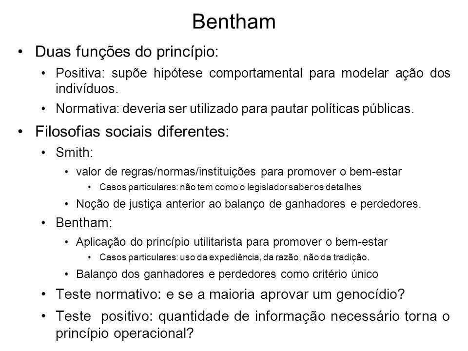 Bentham Duas funções do princípio: Filosofias sociais diferentes: