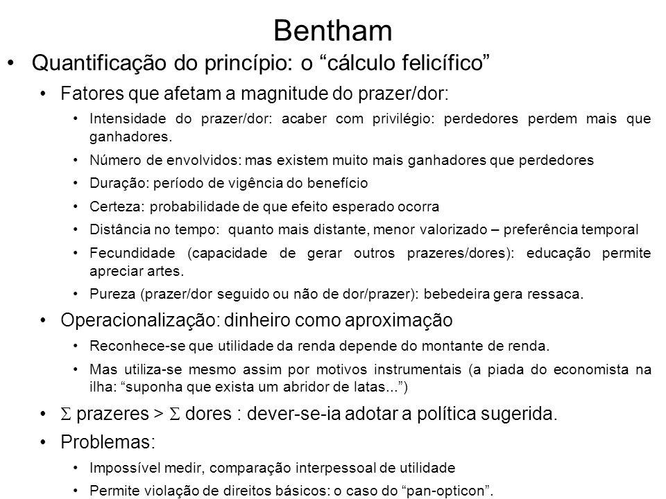 Bentham Quantificação do princípio: o cálculo felicífico