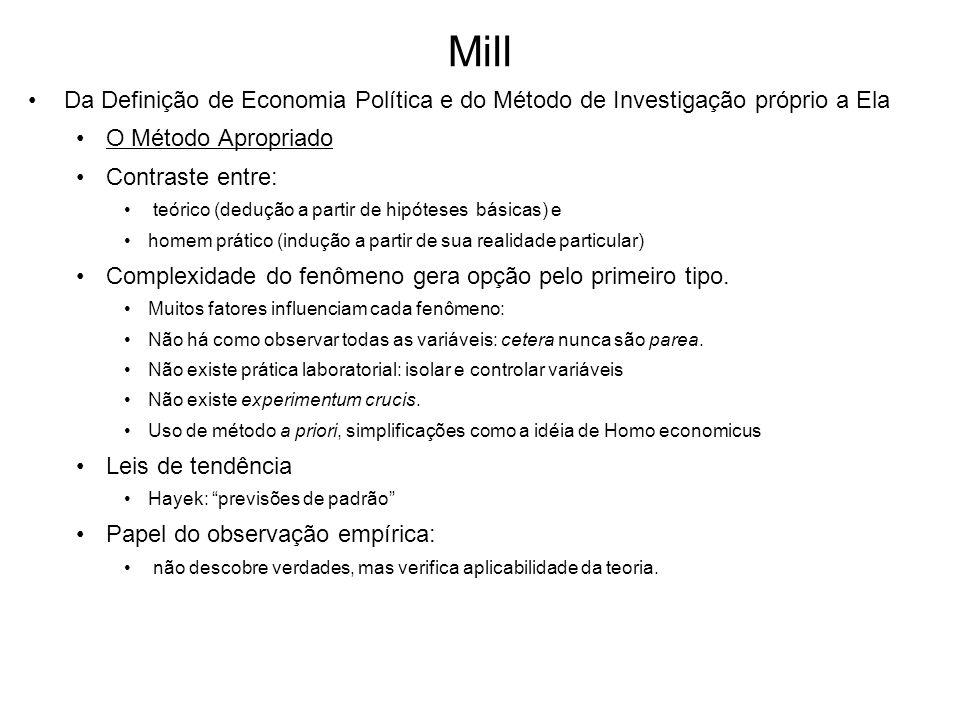 Mill Da Definição de Economia Política e do Método de Investigação próprio a Ela. O Método Apropriado.