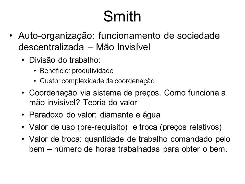 Smith Auto-organização: funcionamento de sociedade descentralizada – Mão Invisível. Divisão do trabalho: