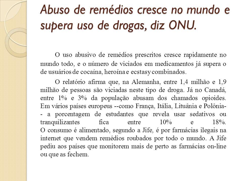 Abuso de remédios cresce no mundo e supera uso de drogas, diz ONU.