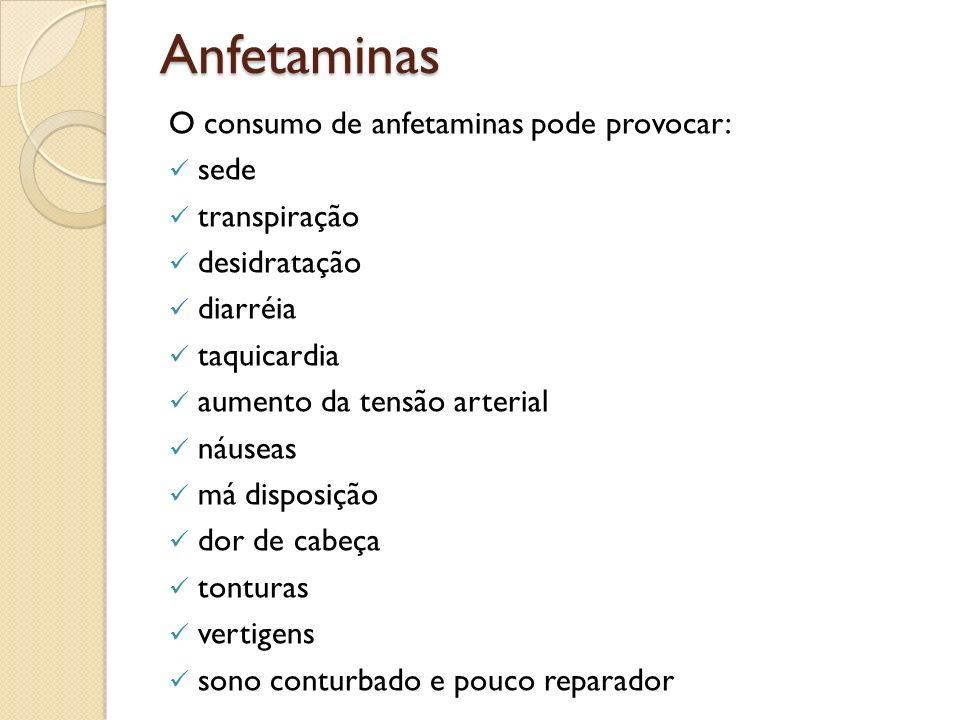 Anfetaminas O consumo de anfetaminas pode provocar: sede transpiração