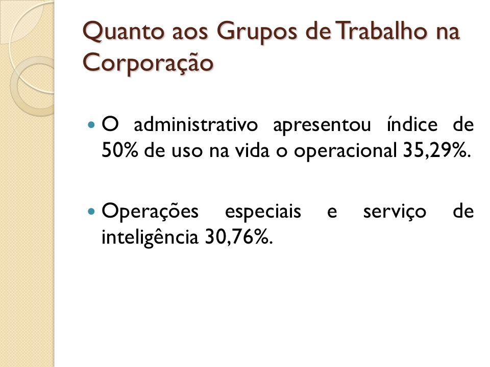 Quanto aos Grupos de Trabalho na Corporação