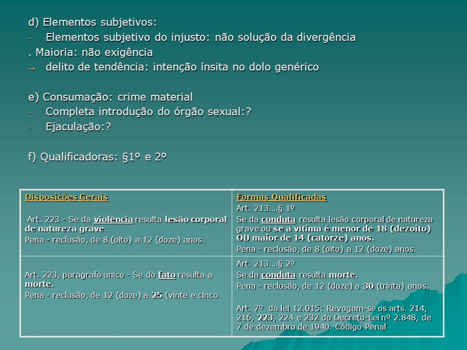 d) Elementos subjetivos: