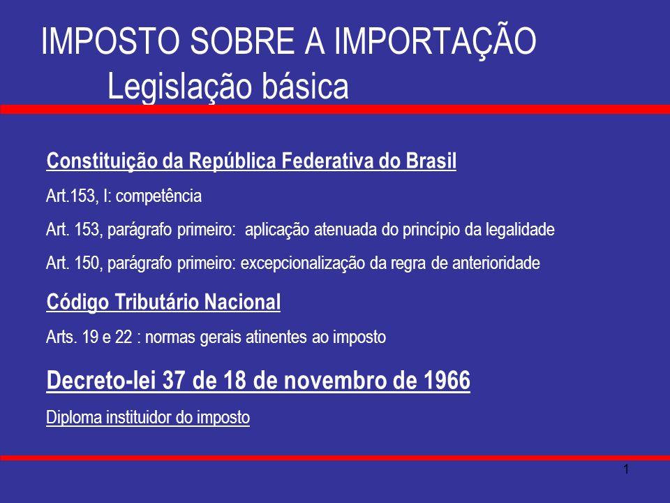 IMPOSTO SOBRE A IMPORTAÇÃO Legislação básica