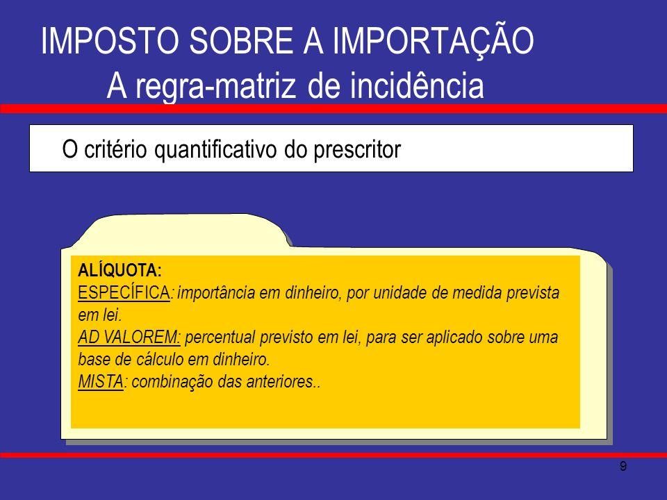 IMPOSTO SOBRE A IMPORTAÇÃO A regra-matriz de incidência