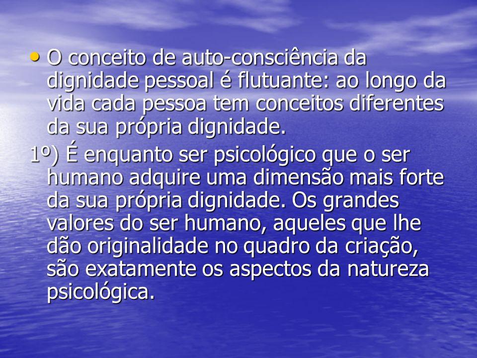 O conceito de auto-consciência da dignidade pessoal é flutuante: ao longo da vida cada pessoa tem conceitos diferentes da sua própria dignidade.