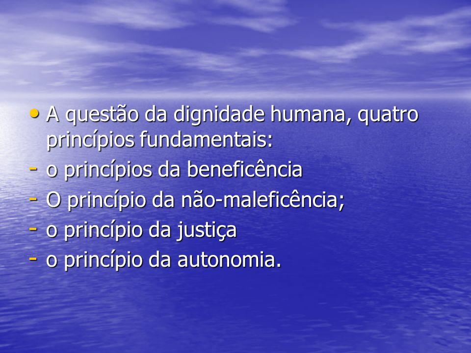A questão da dignidade humana, quatro princípios fundamentais: