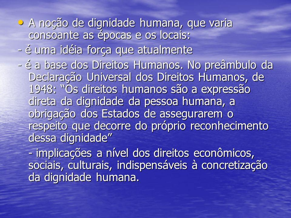 A noção de dignidade humana, que varia consoante as épocas e os locais: