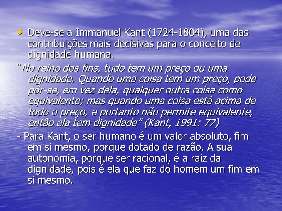 Deve-se a Immanuel Kant (1724-1804), uma das contribuições mais decisivas para o conceito de dignidade humana.