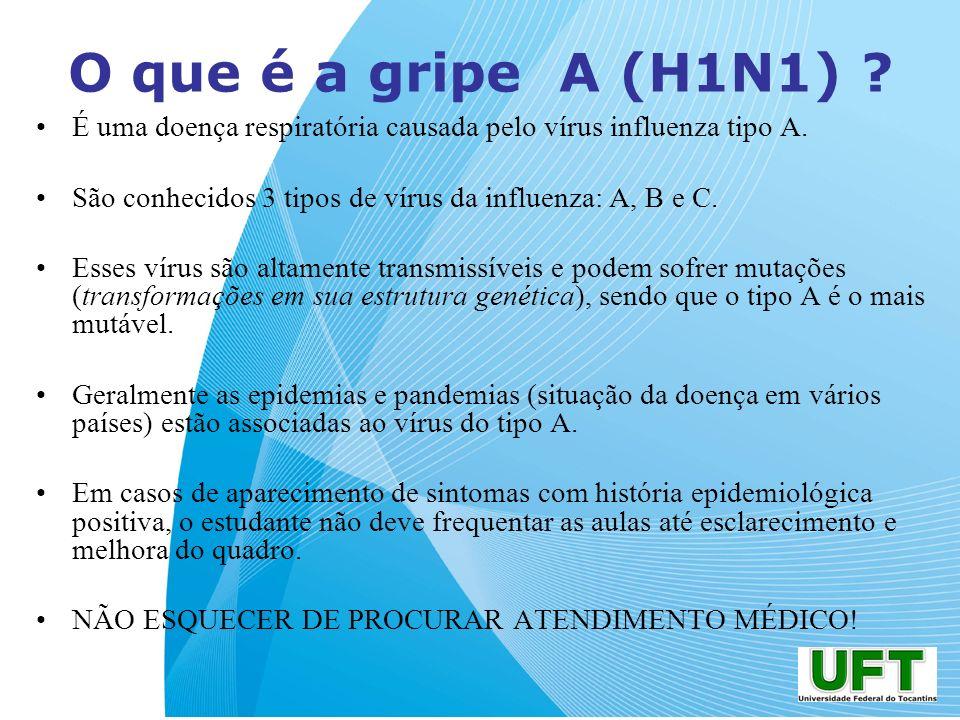 O que é a gripe A (H1N1) É uma doença respiratória causada pelo vírus influenza tipo A. São conhecidos 3 tipos de vírus da influenza: A, B e C.
