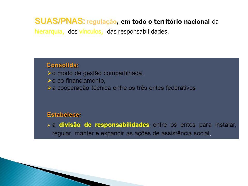 SUAS/PNAS: regulação, em todo o território nacional da hierarquia, dos vínculos, das responsabilidades.