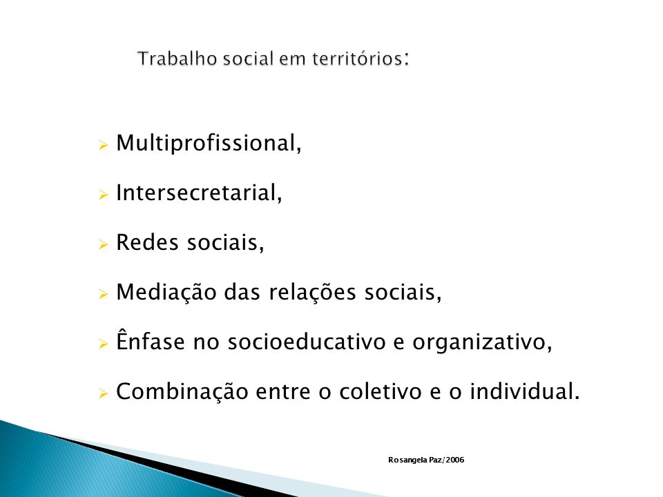 Trabalho social em territórios:
