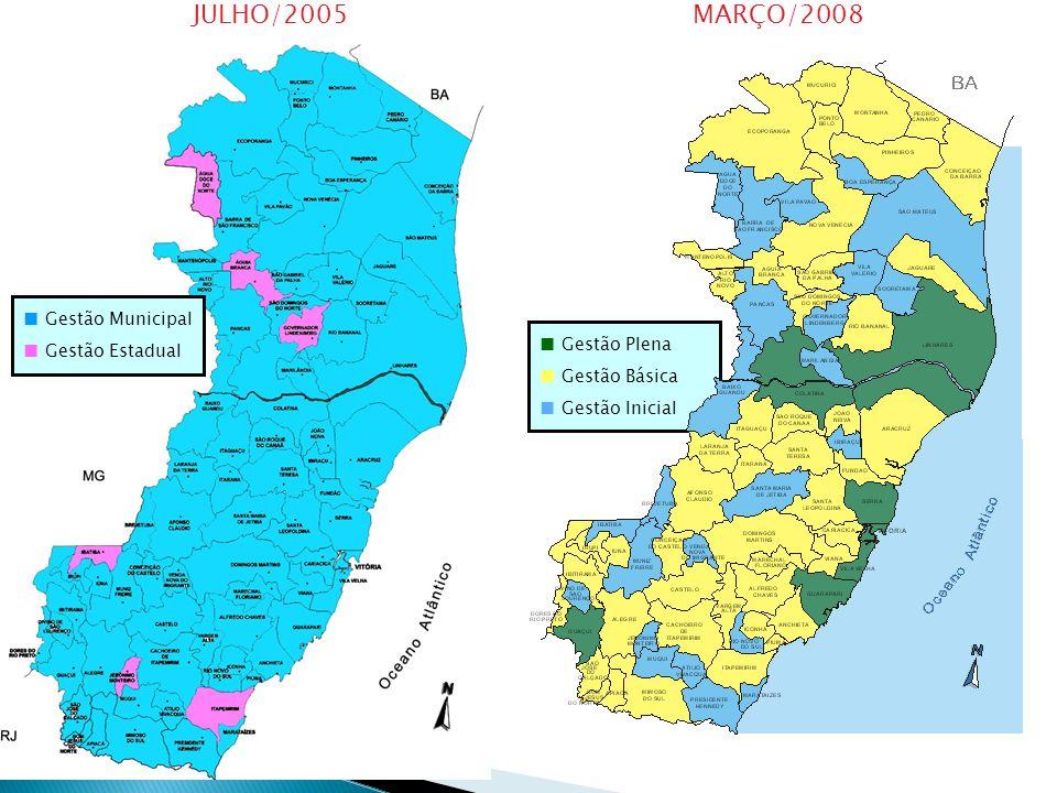 JULHO/2005 MARÇO/2008 Gestão Municipal Gestão Estadual Gestão Plena