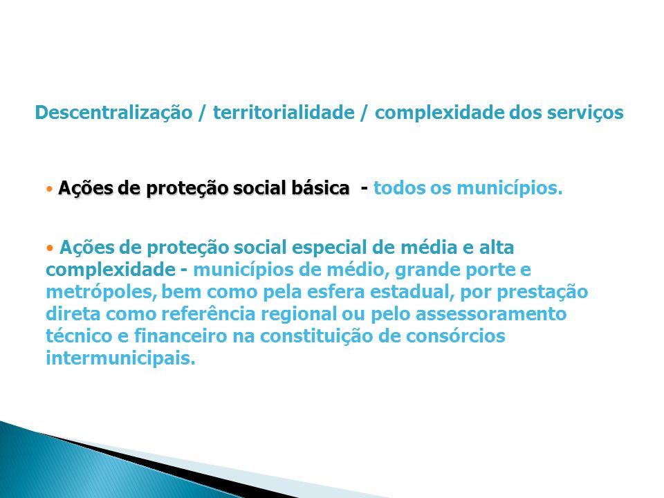 Descentralização / territorialidade / complexidade dos serviços