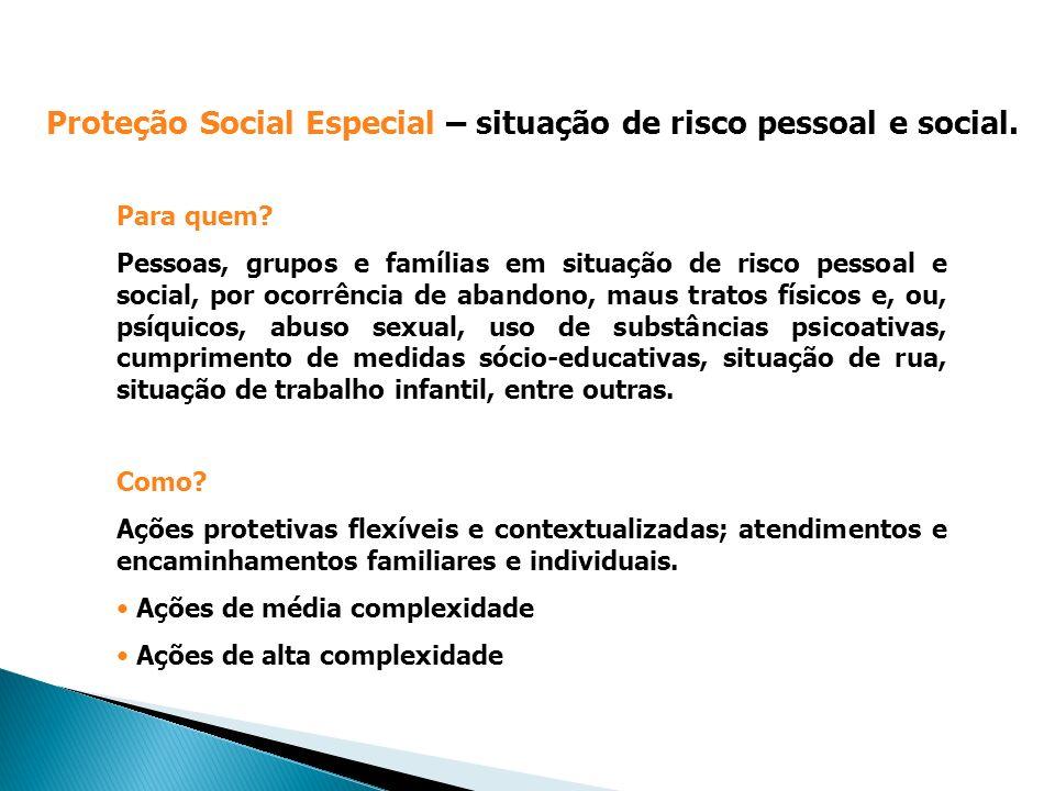 Proteção Social Especial – situação de risco pessoal e social.