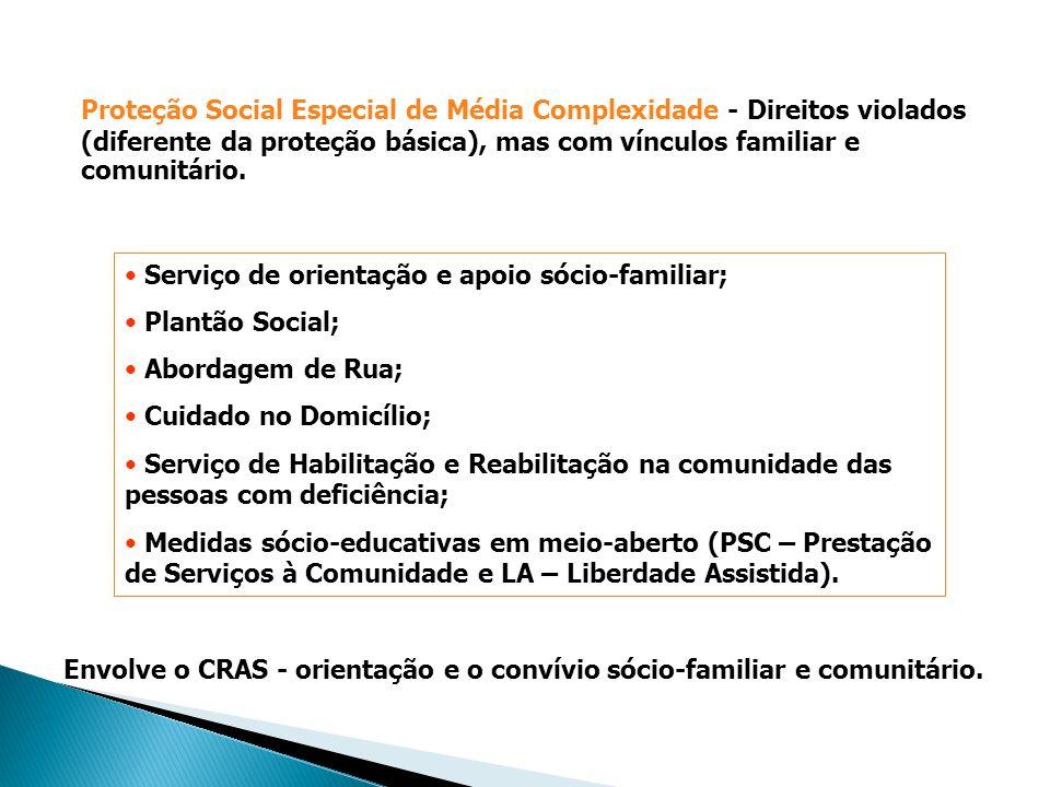 Proteção Social Especial de Média Complexidade - Direitos violados (diferente da proteção básica), mas com vínculos familiar e comunitário.