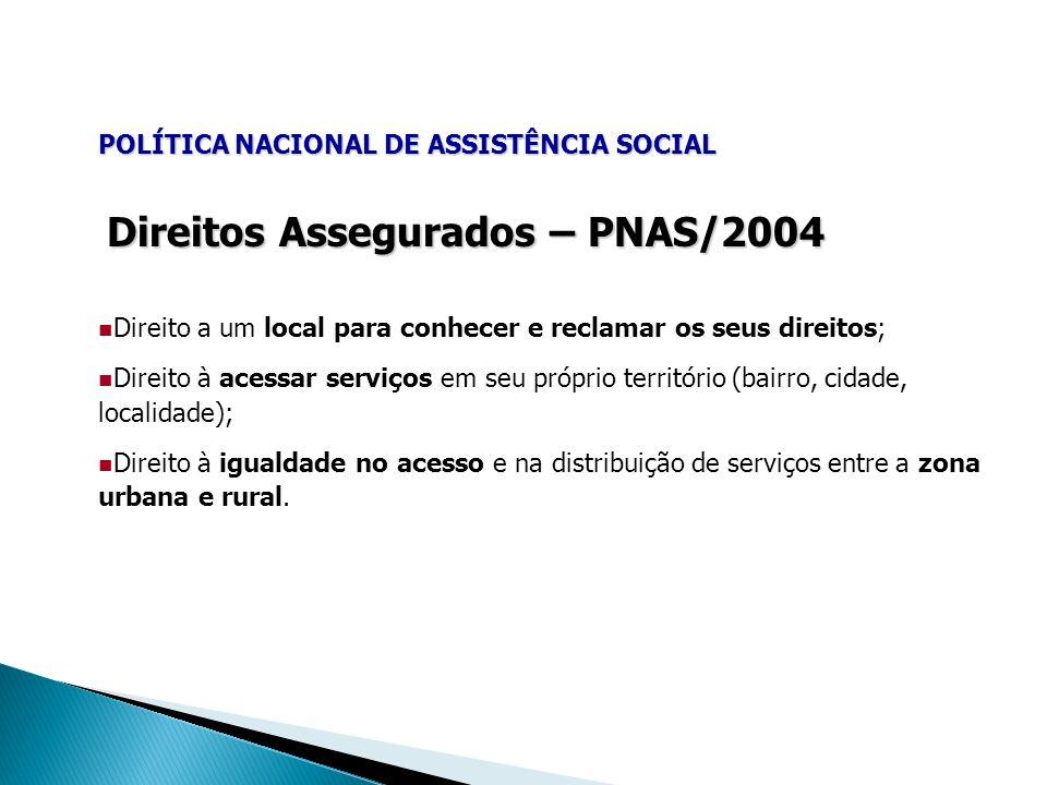 Direitos Assegurados – PNAS/2004