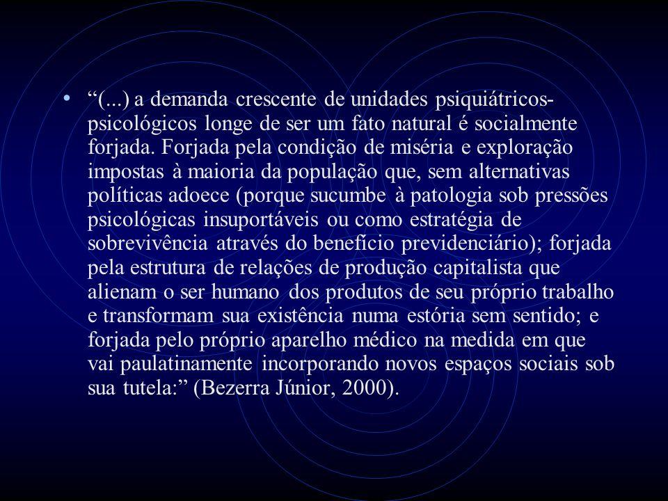 (...) a demanda crescente de unidades psiquiátricos-psicológicos longe de ser um fato natural é socialmente forjada.