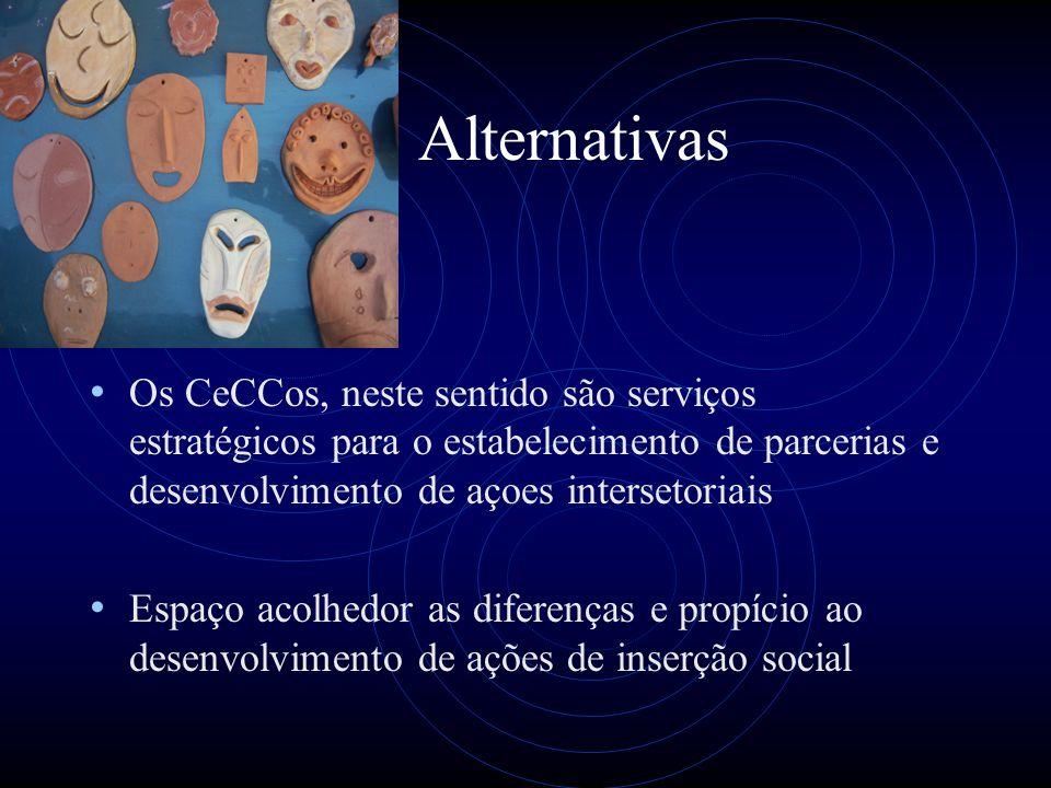 Alternativas Os CeCCos, neste sentido são serviços estratégicos para o estabelecimento de parcerias e desenvolvimento de açoes intersetoriais.