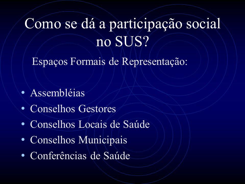Como se dá a participação social no SUS