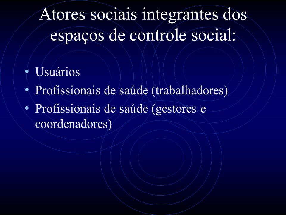 Atores sociais integrantes dos espaços de controle social: