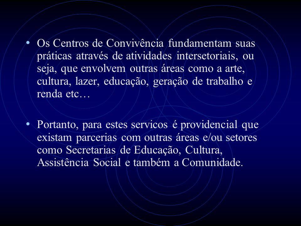 Os Centros de Convivência fundamentam suas práticas através de atividades intersetoriais, ou seja, que envolvem outras áreas como a arte, cultura, lazer, educação, geração de trabalho e renda etc…