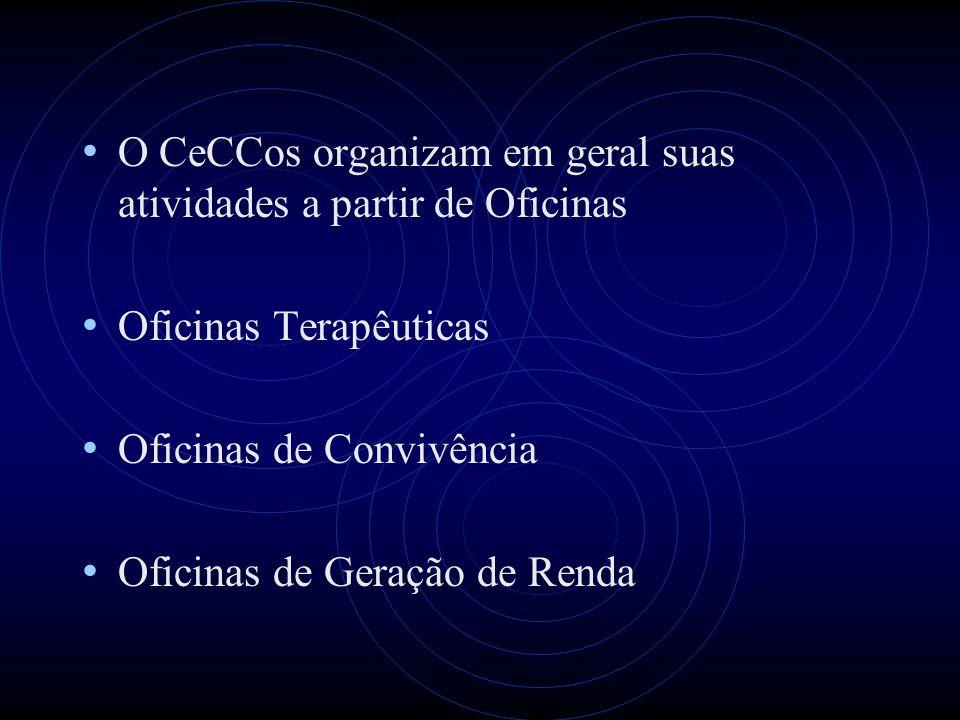O CeCCos organizam em geral suas atividades a partir de Oficinas
