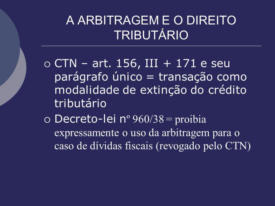 A ARBITRAGEM E O DIREITO TRIBUTÁRIO