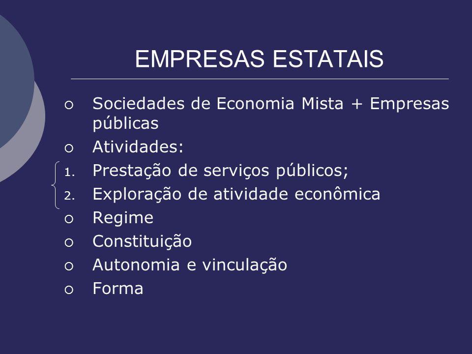 EMPRESAS ESTATAIS Sociedades de Economia Mista + Empresas públicas