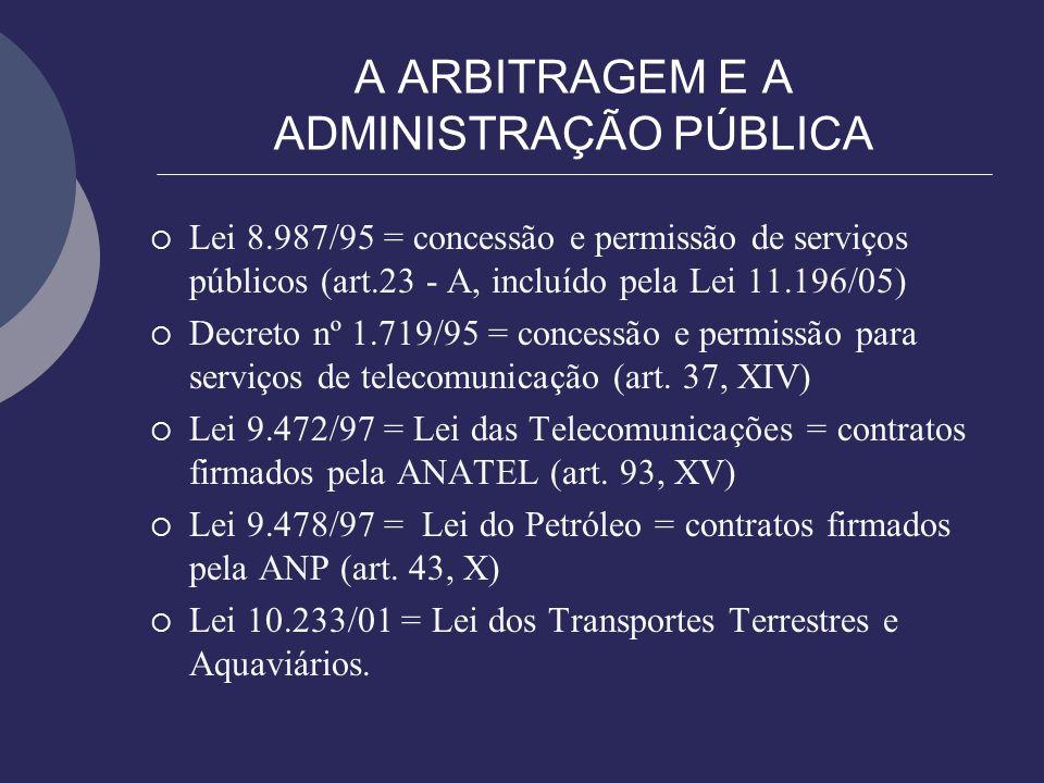A ARBITRAGEM E A ADMINISTRAÇÃO PÚBLICA