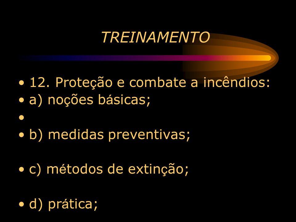 TREINAMENTO 12. Proteção e combate a incêndios: a) noções básicas;
