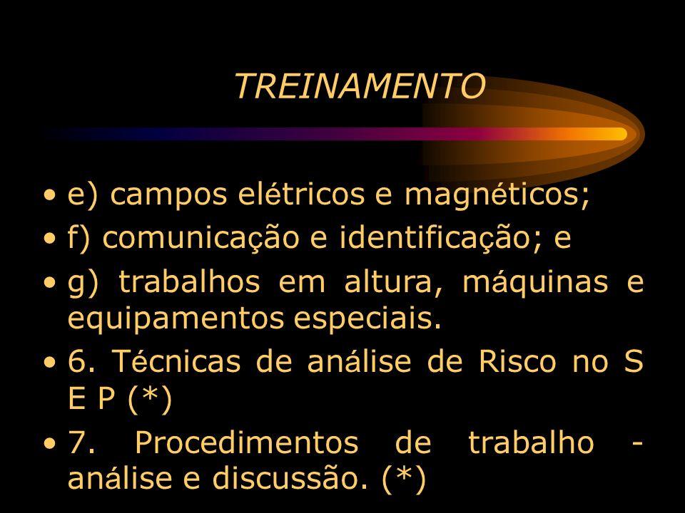 TREINAMENTO e) campos elétricos e magnéticos;