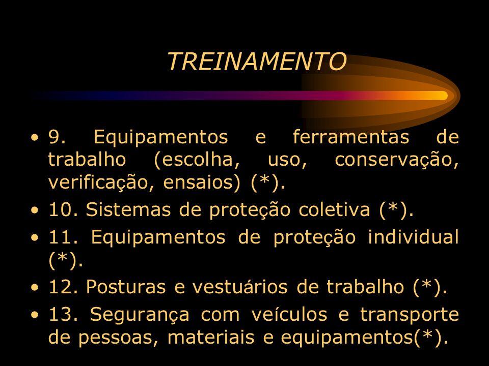 TREINAMENTO9. Equipamentos e ferramentas de trabalho (escolha, uso, conservação, verificação, ensaios) (*).