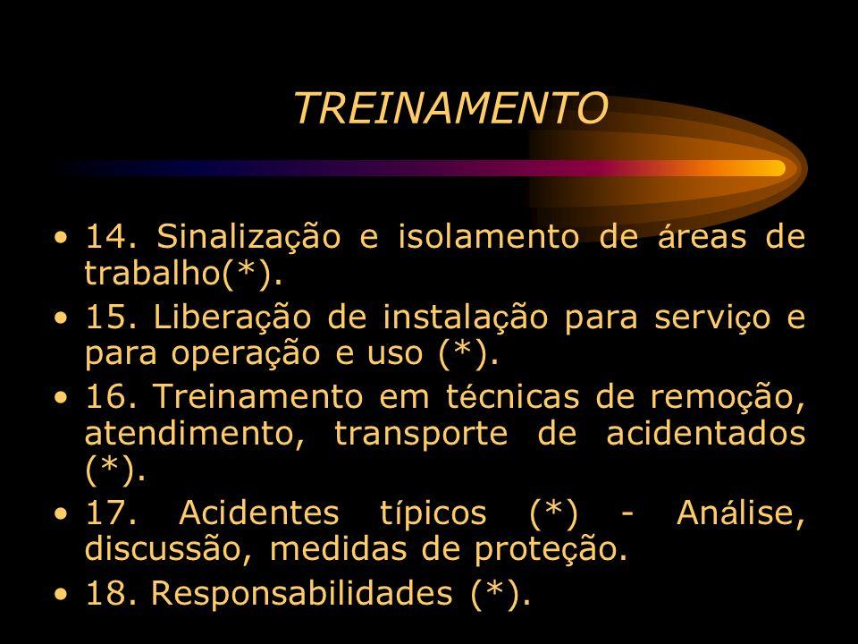 TREINAMENTO 14. Sinalização e isolamento de áreas de trabalho(*).