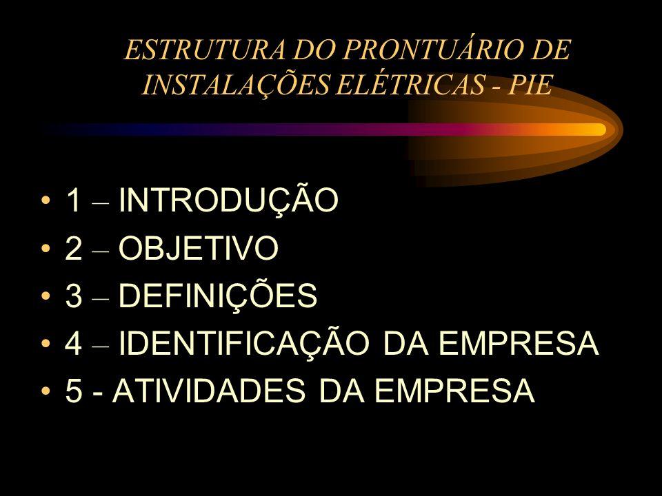 ESTRUTURA DO PRONTUÁRIO DE INSTALAÇÕES ELÉTRICAS - PIE