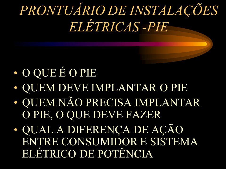 PRONTUÁRIO DE INSTALAÇÕES ELÉTRICAS -PIE