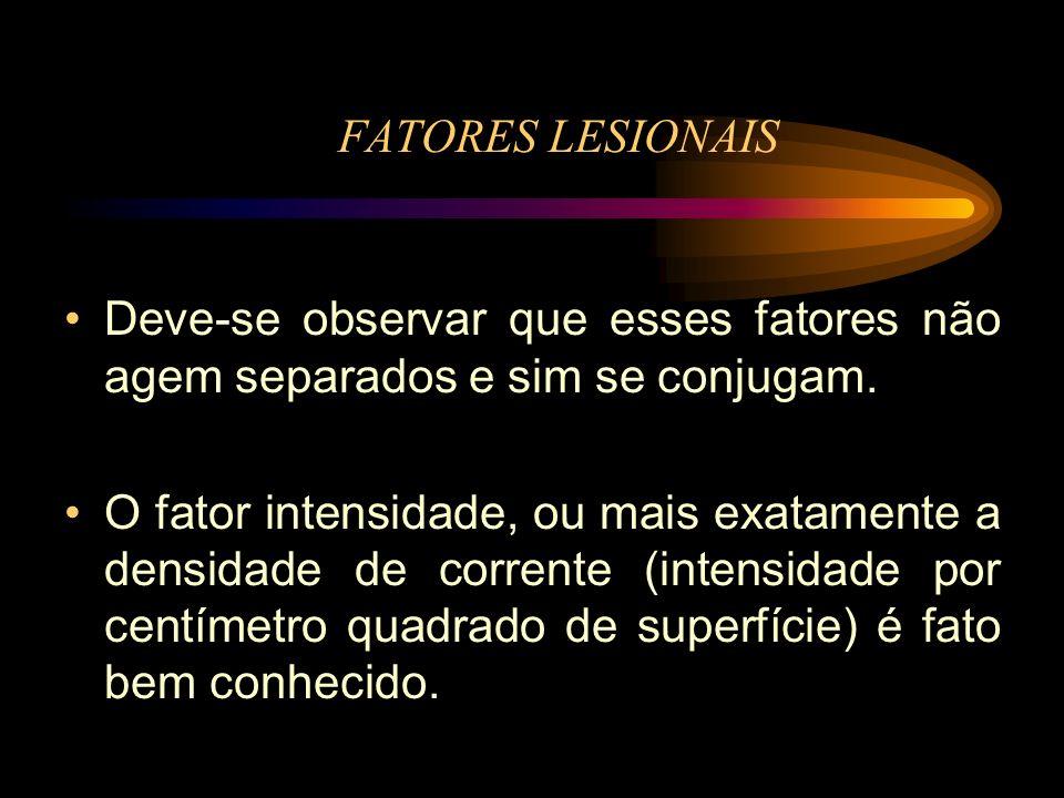 FATORES LESIONAIS Deve-se observar que esses fatores não agem separados e sim se conjugam.