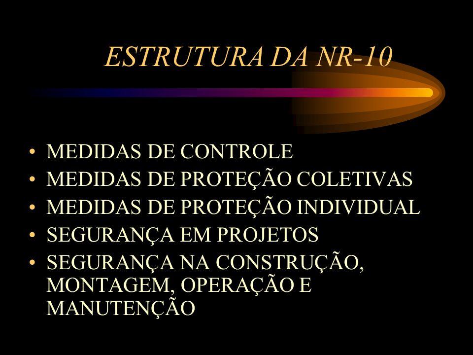 ESTRUTURA DA NR-10 MEDIDAS DE CONTROLE MEDIDAS DE PROTEÇÃO COLETIVAS