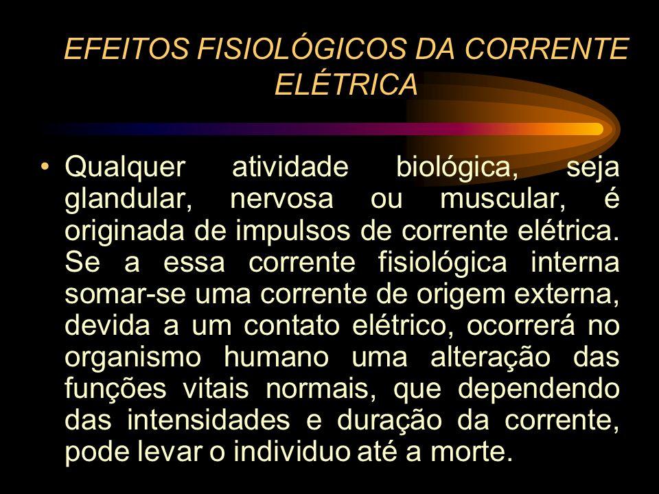 EFEITOS FISIOLÓGICOS DA CORRENTE ELÉTRICA
