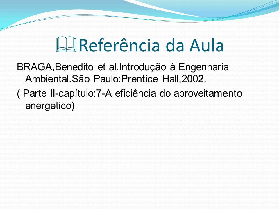 Referência da AulaBRAGA,Benedito et al.Introdução à Engenharia Ambiental.São Paulo:Prentice Hall,2002.