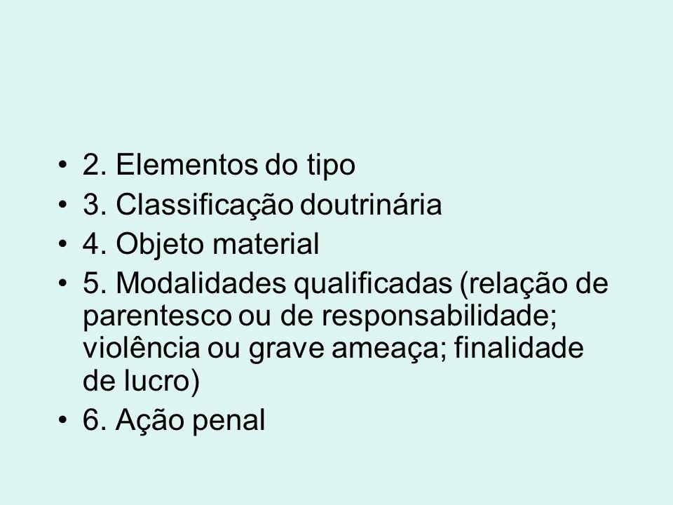 2. Elementos do tipo 3. Classificação doutrinária. 4. Objeto material.