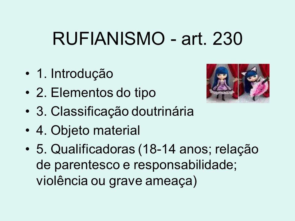RUFIANISMO - art. 230 1. Introdução 2. Elementos do tipo