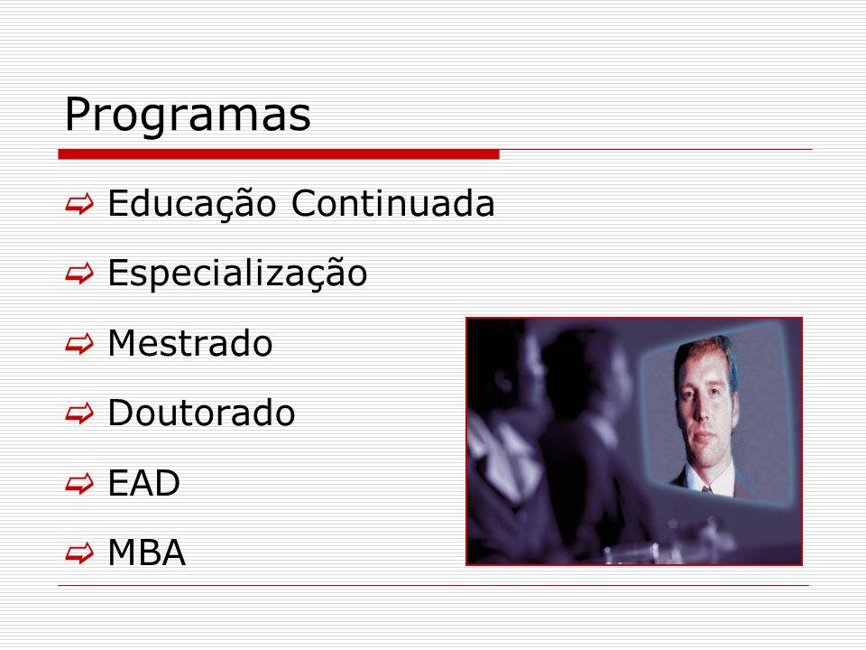 Programas Educação Continuada Especialização Mestrado Doutorado EAD