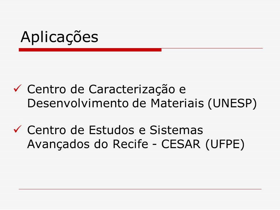Aplicações Centro de Caracterização e Desenvolvimento de Materiais (UNESP) Centro de Estudos e Sistemas Avançados do Recife - CESAR (UFPE)