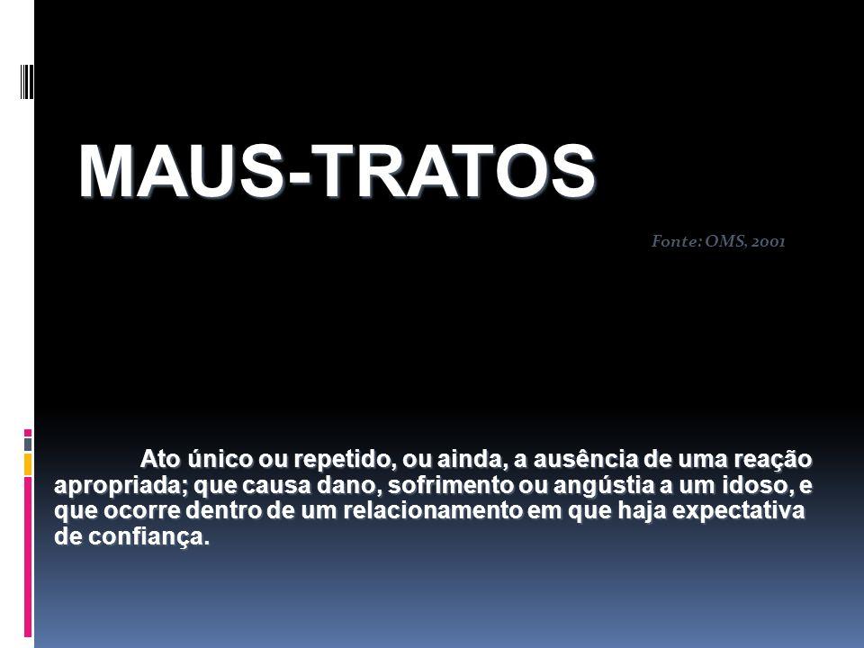 MAUS-TRATOS Fonte: OMS, 2001.