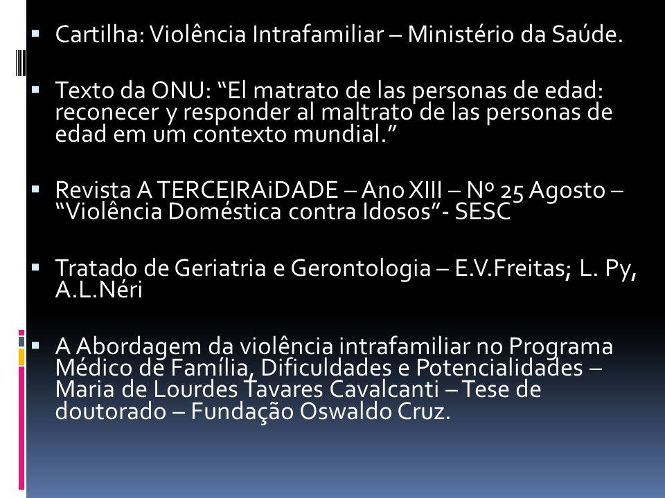 Cartilha: Violência Intrafamiliar – Ministério da Saúde.