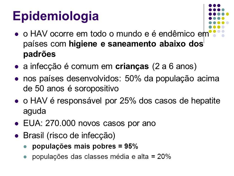 Epidemiologia o HAV ocorre em todo o mundo e é endêmico em países com higiene e saneamento abaixo dos padrões.