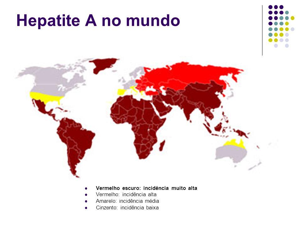 Hepatite A no mundo Vermelho escuro: incidência muito alta
