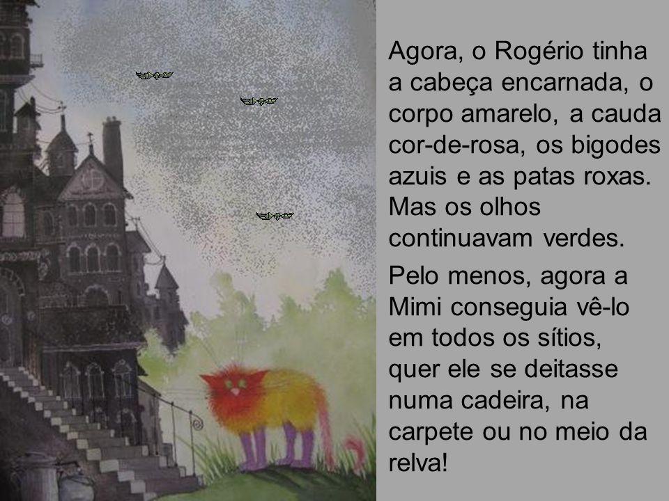 Agora, o Rogério tinha a cabeça encarnada, o corpo amarelo, a cauda cor-de-rosa, os bigodes azuis e as patas roxas. Mas os olhos continuavam verdes.